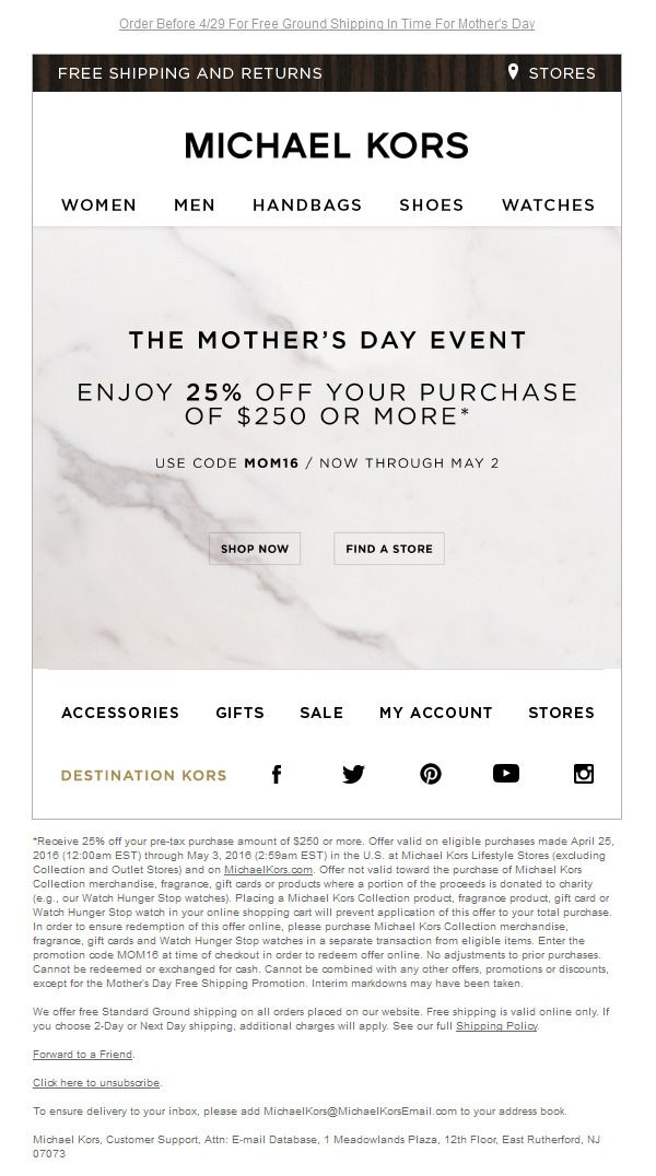 f77beb9d49fa Michael Kors Mother s Day event  jewellery  fashion  newsletter ...