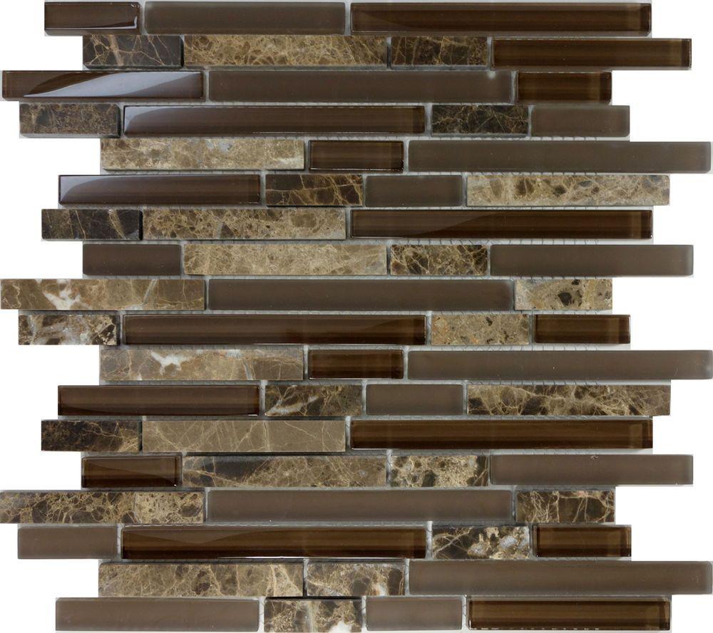 10sf Brown Glass Natural Stone Linear Mosaic Tile Wall Kitchen Backsplash Sink Backsplash Tile Design Kitchen Backsplash Tile Designs Metal Mosaic Tiles