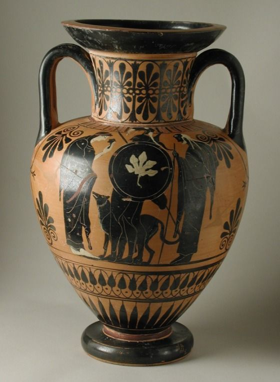 Black-Figure Neck-Amphora with (A) Departure Scene and (B) Athena in a Chariot fighting a Giant Leagros Group (attributed to the) (active circa 525-500 B.C.) Greece, Attica, 520-510 B.C. LACMA