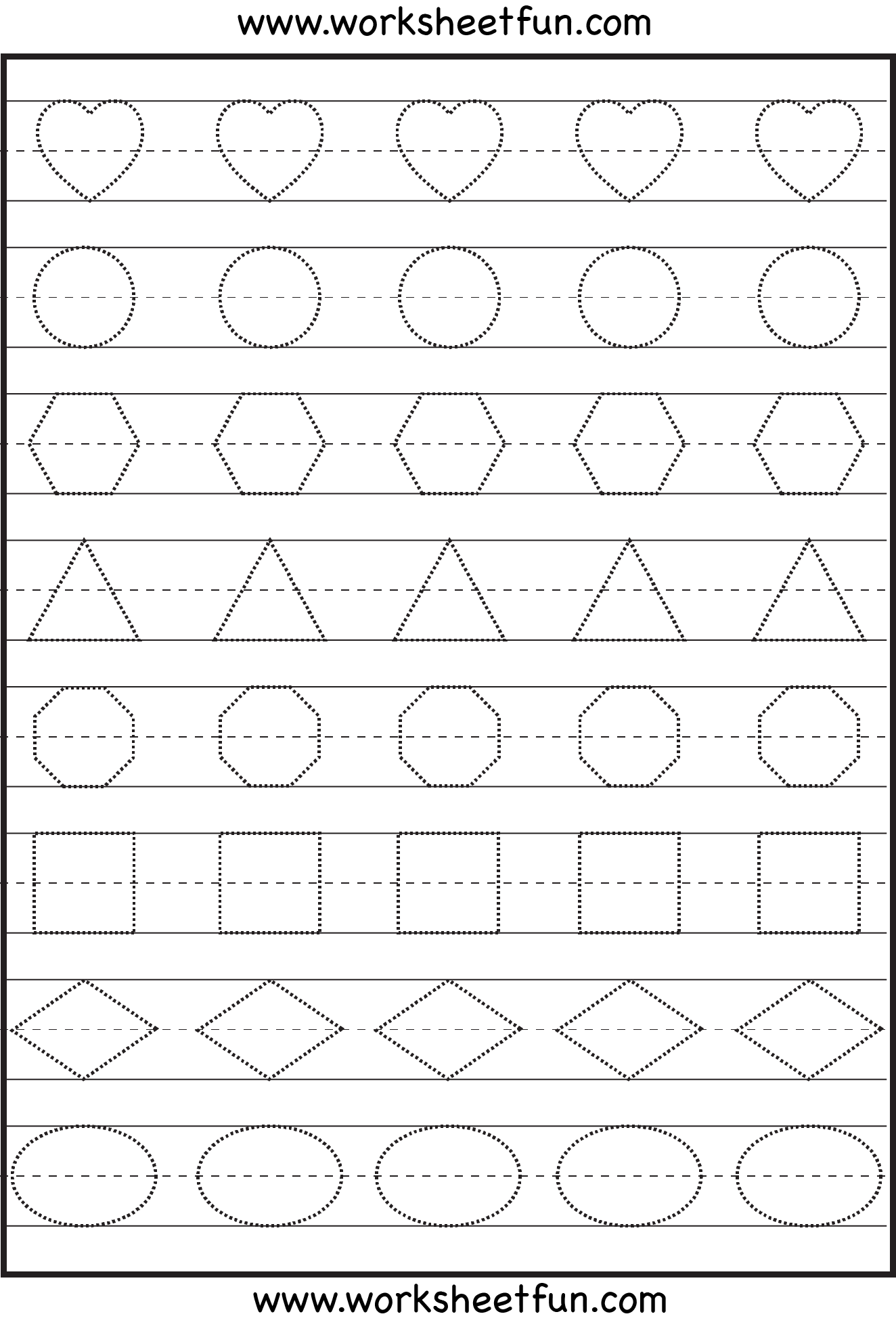 Shape Tracing Letters More lots of preschool tracing – Free Worksheets for Preschool