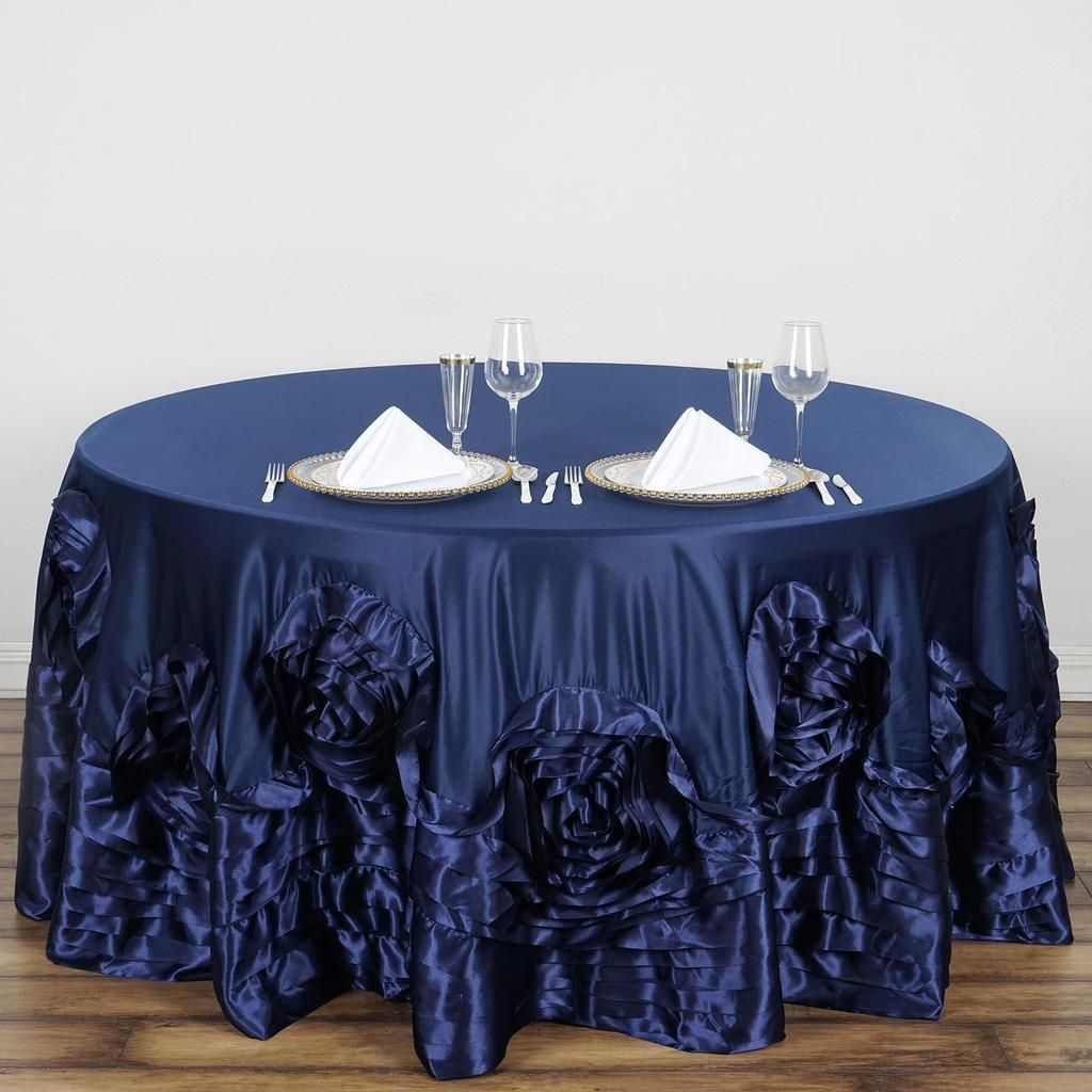 132 Navy Blue Large Rosette Round Lamour Satin Tablecloth Table