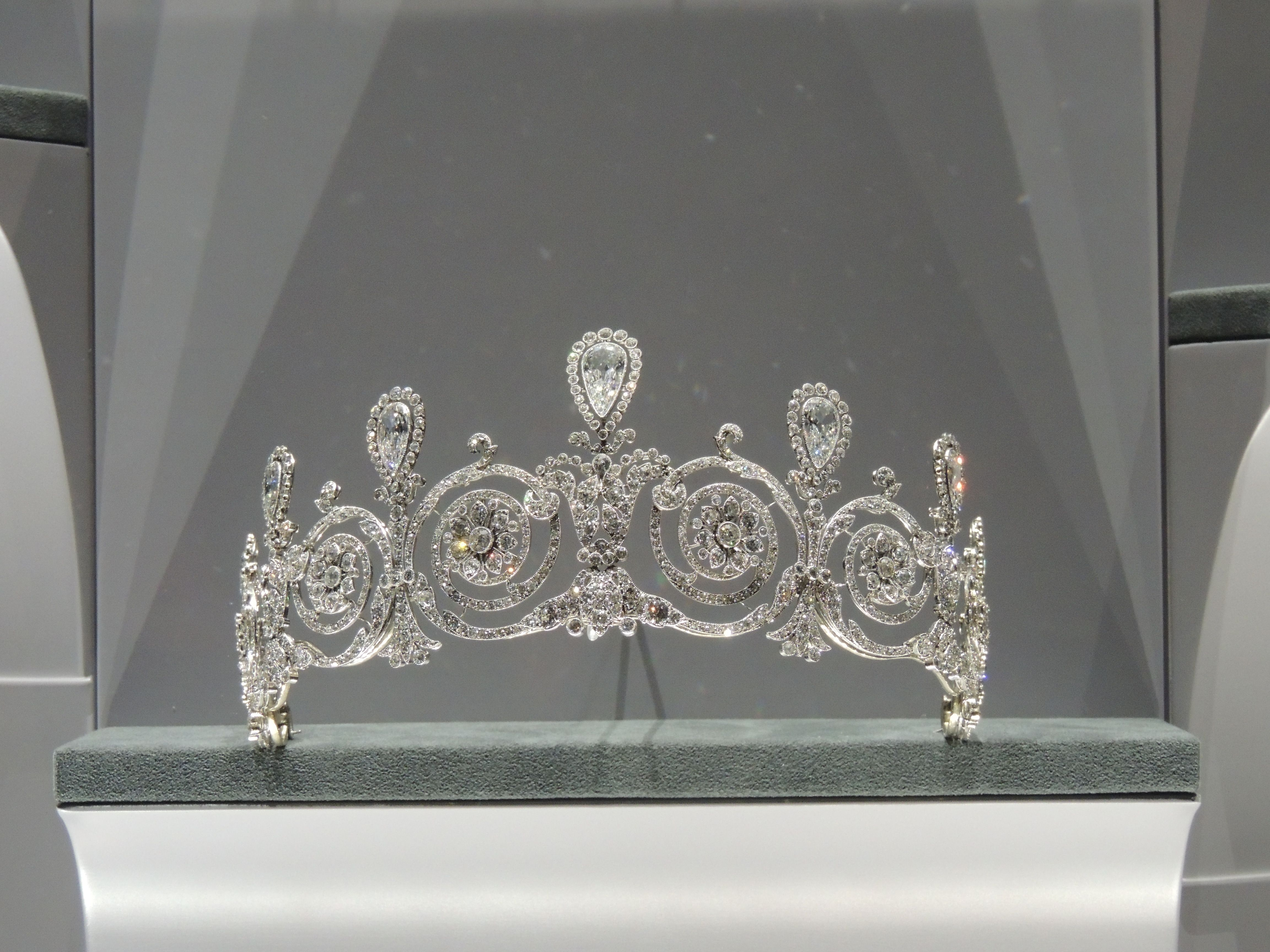 The Townsend Tiara. Cartier, Paris, 1905, platinum, seven pear-shaped diamonds weighing approximately 17 carats in total, old and rose-cut diamonds, millegrain setting.