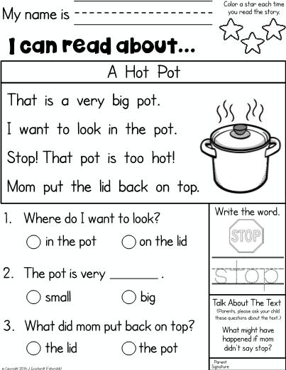 Kindergarten Reading Comprehension Homework Kindergarten Reading Worksheets Reading Comprehension Kindergarten Teaching Reading Comprehension