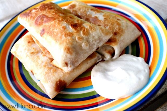 Bean Chimichangas - so GOOD and EASY! And they're baked so lots healthier. Can substitute beans for chicken or beef.