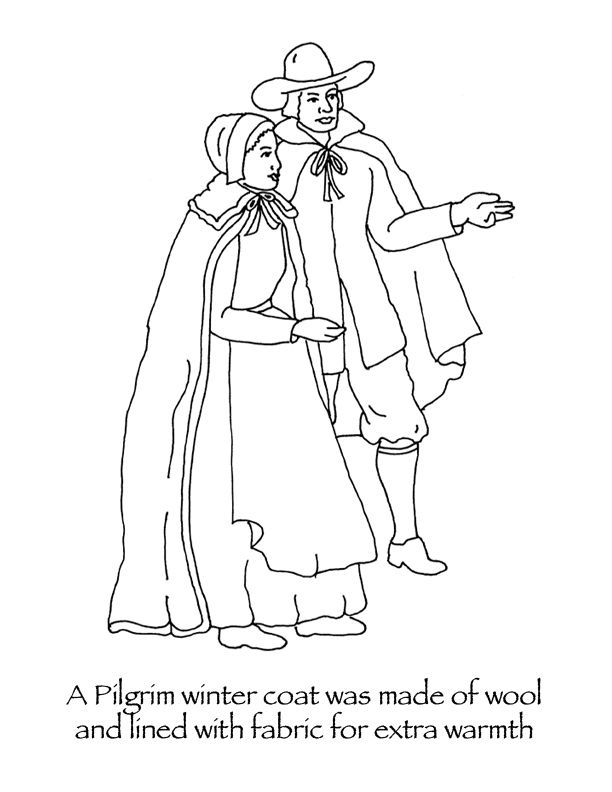 Many Hoops Thanksgiving coloring pages Pilgrim