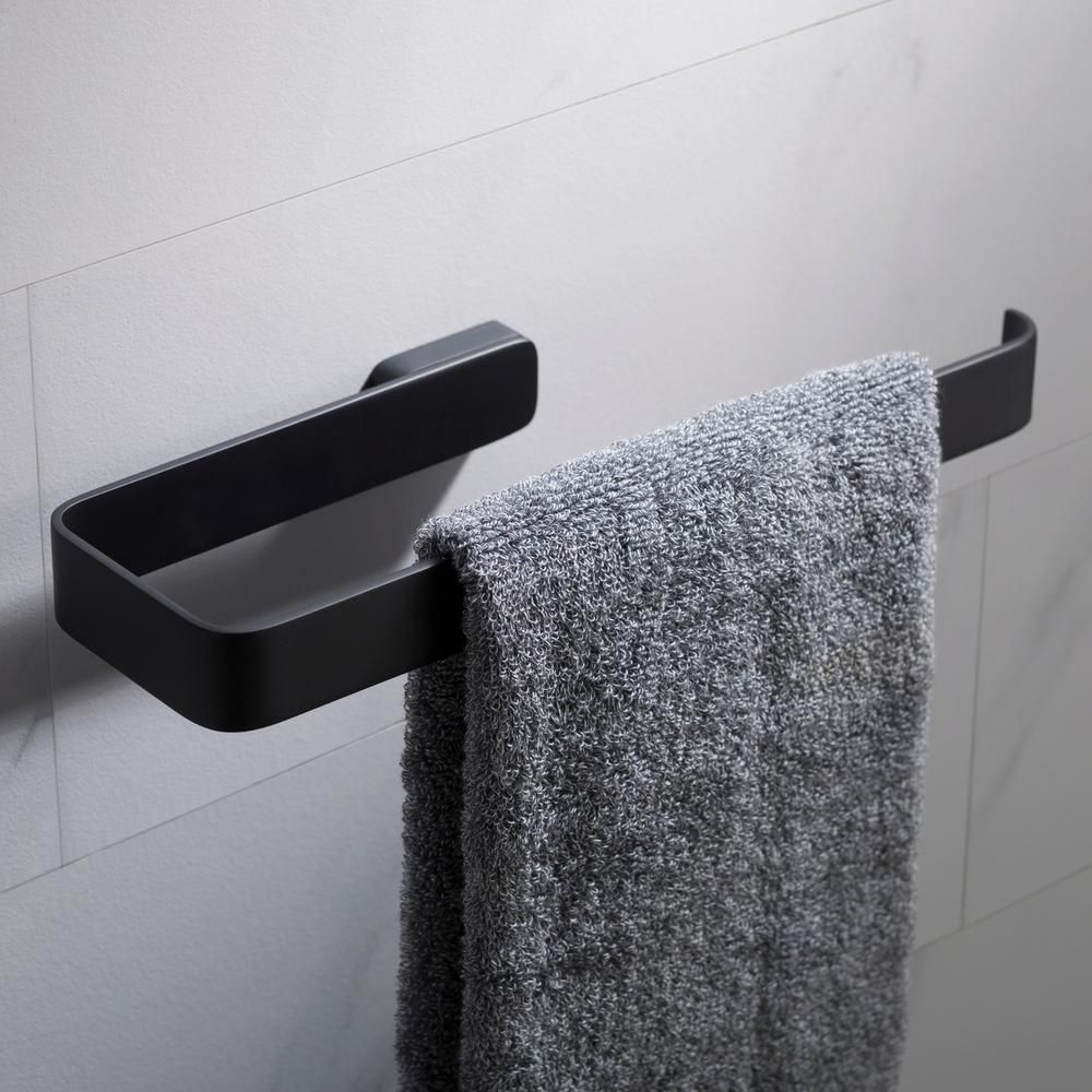 Photo of KRAUS Stelios bath towel ring in matt black-KEA-19925MB – The Home Depot