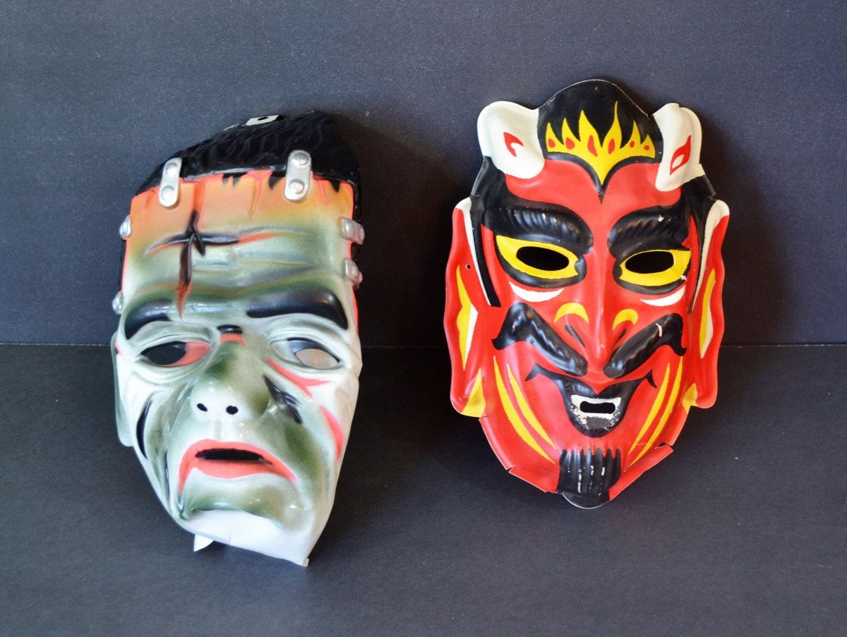 Vintage Child's Halloween Masks Devil Frankenstein Set of 2 Two ...