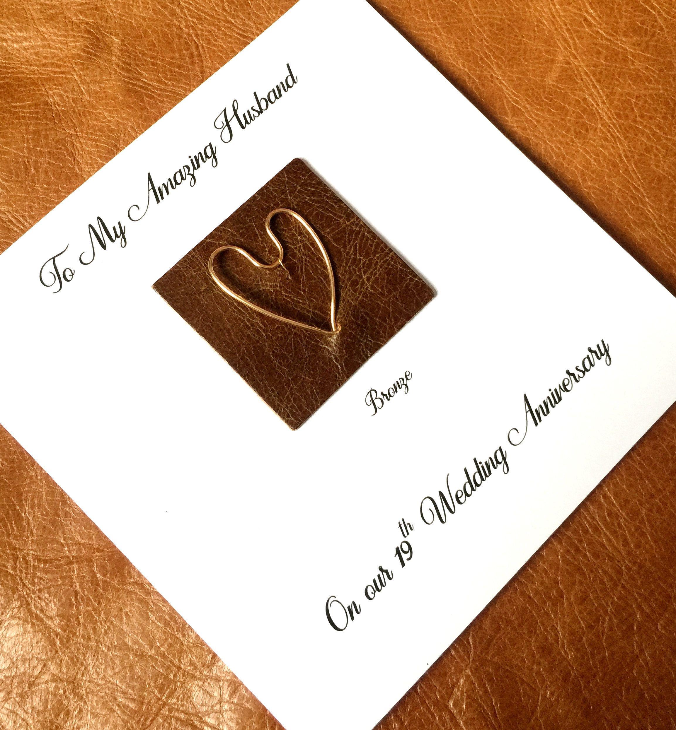 19th Wedding Anniversary Card Bronze Anniversary Card Handmade Uk Anniversary Cards Handmade Wedding Anniversary Cards Anniversary Cards