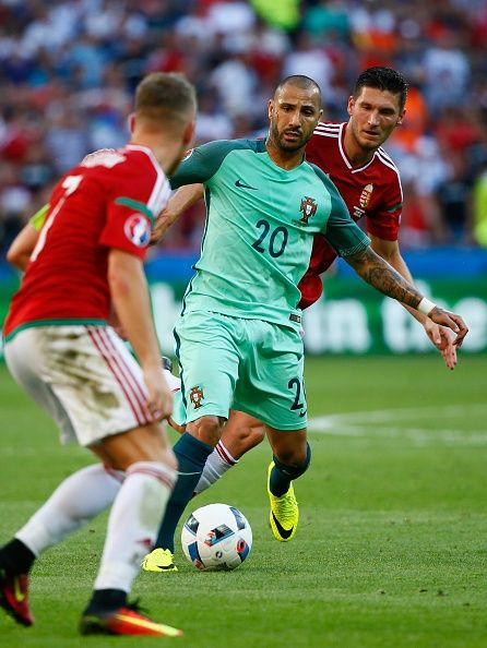 #EURO2016 Quaresma of Portugal vies with Balazs Dzsudzsak during the UEFA EURO 2016 Group F match between Hungary and Portugal at Stade de Lyon in Lyon France...