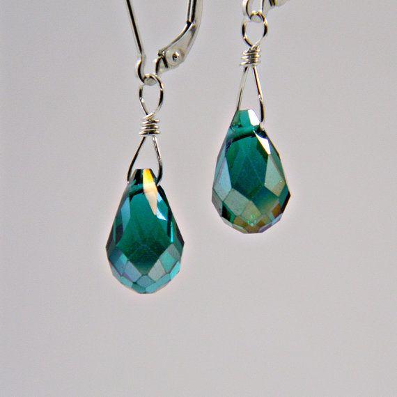 Handmade Orange Earrings Silver Antique Teardrop Glass Faceted Drop Hook Luxury