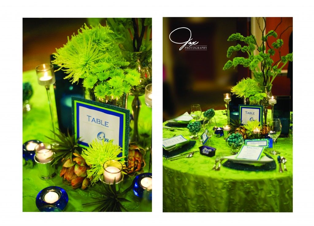 Trebella Events Royal Blue Lime Green Tablescape Green