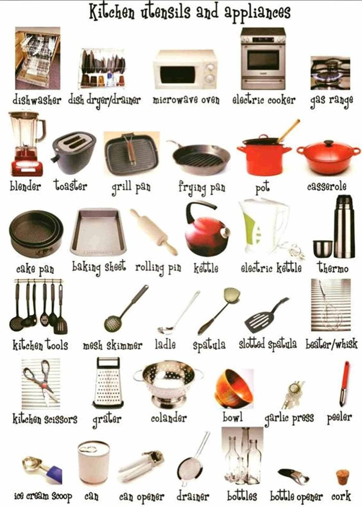 In The Kitchen Vocabulary Kitchen Utensils Amp Cooking Verbs