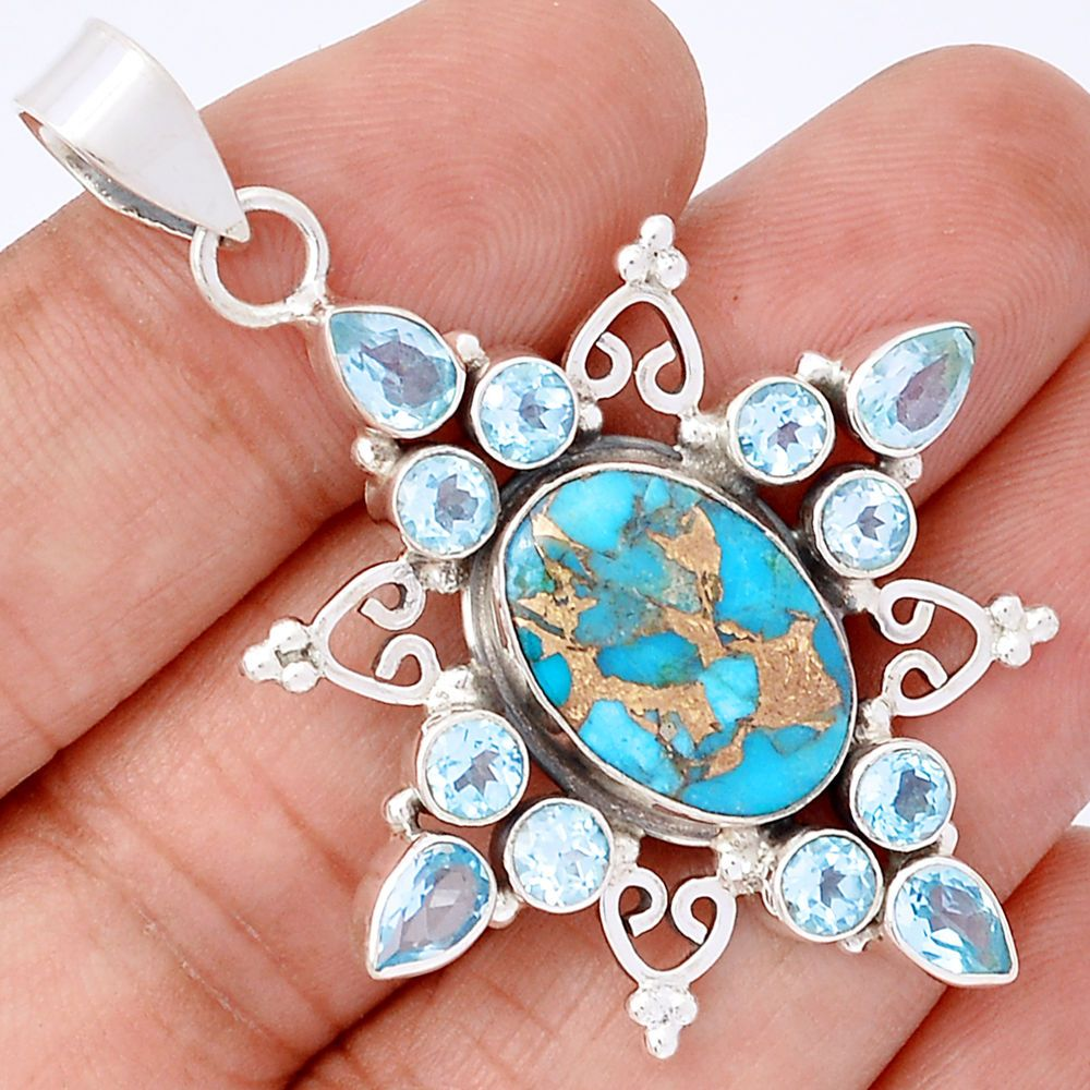 Copper Blue Turquoise & Blue Topaz 925 Silver Pendant Jewelry SP175118 | eBay