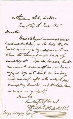 Handwritten letter hand written pinterest handwritten charles dickens rare handwritten letter signed by charles dickens in which he is forced to decline an invitation stopboris Image collections
