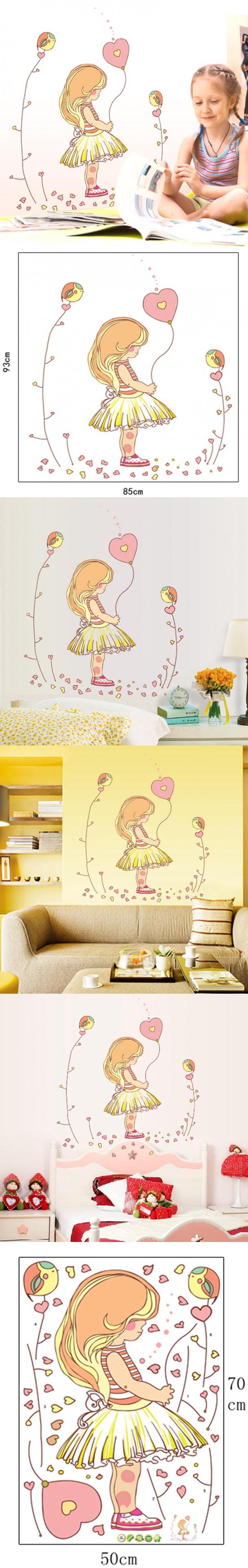 Wall Sticker Wall Decal Home Decor Adhesive Art Mural Diy Cute Girl ...