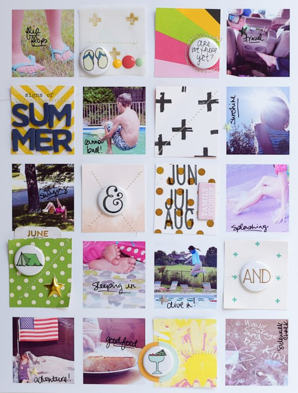 DETAILS | embellishments, writing on pics, small squares - overview