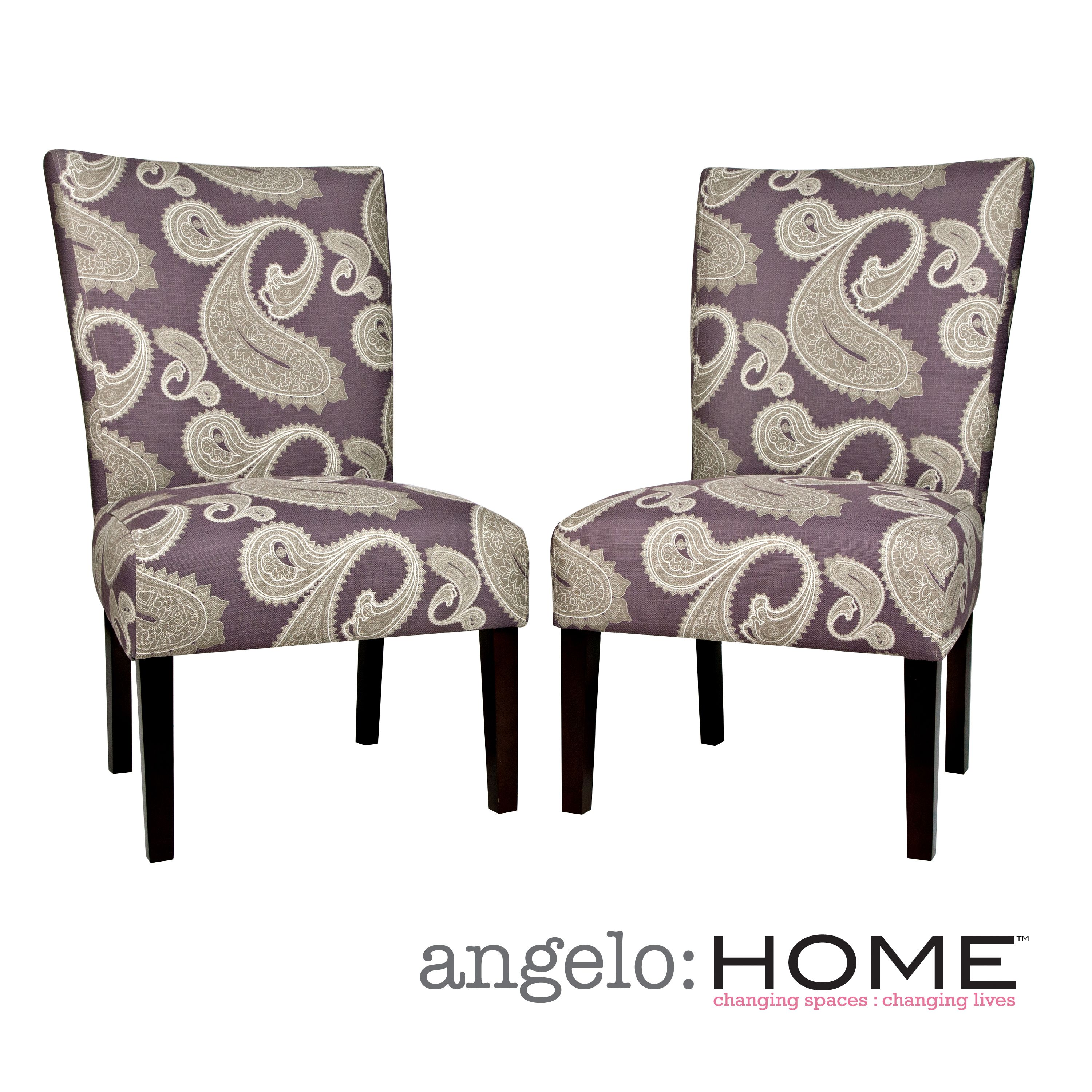 purple upholstered dining chairs aeron chair price angelo home bradford feathered paisley amethyst