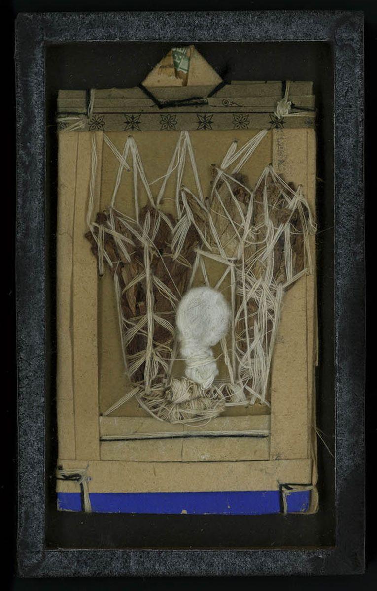 UNTITLED/ Jean Mar (Jean Marchand) (c. 1828–1911, Switzerland), c. 1908, Bel-Air Clinic, Chine-Bourg, Switzerland, paper, plant fiber, and white and black string, 4 3/4 x 2 1/2 in. Collection de l'Art Brut, Lausanne, Switzerland, cab-A414. Photo credits: © Collection de l'Art Brut, Lausanne. Photo by Caroline Smyrliadis, Atelier de numérisation—Ville de Lausanne