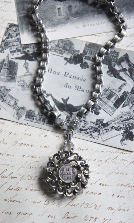 Notre dame vintage assemblage necklace notre dame pendant silver notre dame vintage assemblage necklace notre dame pendant silver book chain gemstones assemblage jewelry f124 by french feather design aloadofball Images