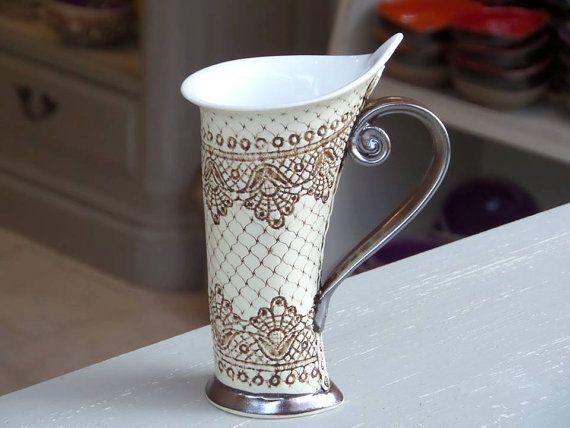 Ceramic Mug, Tea Mug,Handbuilding, Ceramics and pottery, Ceramic cup, Tea cup, Coffee cup, Coffee mug, Handmade mug, Unique mug #teamugs