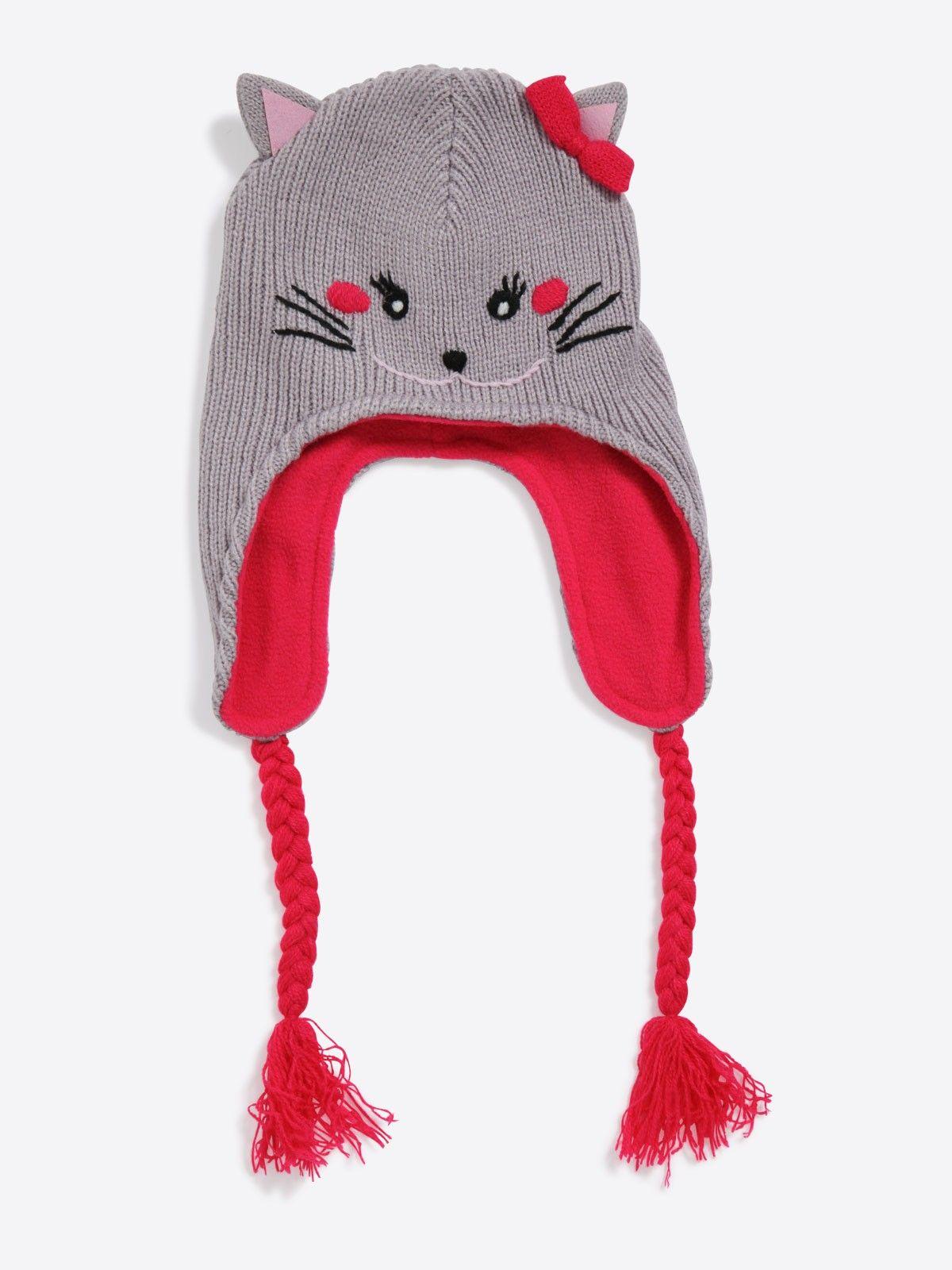 f2d77378c11b Bonnet péruvien petit chat bébé fille   chapeau et snood   Tricot ...