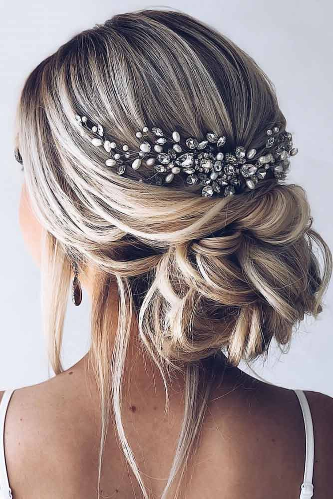 Back Headpiece Low Twist #weddinghairstyles Wise brides know that they can reach perfection only…