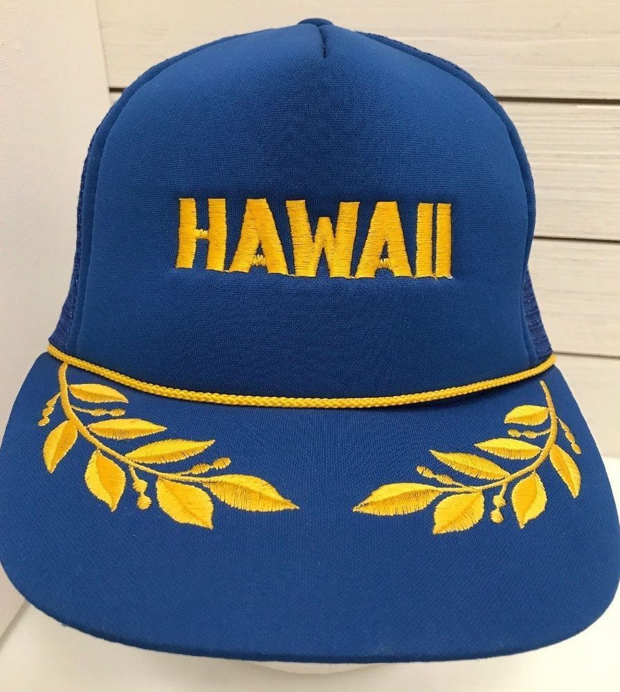 de3a831209b Hawaii Trucker Cap Hat Captain Snapback Blue Gold Leaf Mesh Flat Bill   HawaiianHeadwear  TruckerHat