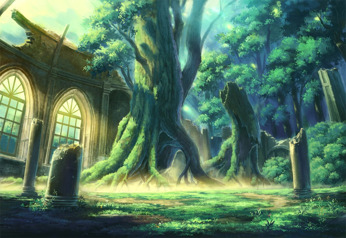 Anime Pictures Net 79452 1200x827 Original Eighbee Tree 28trees 29 Landscape Forest Ruins Jpg 1200 827 Scenery Background Anime Scenery Anime Background