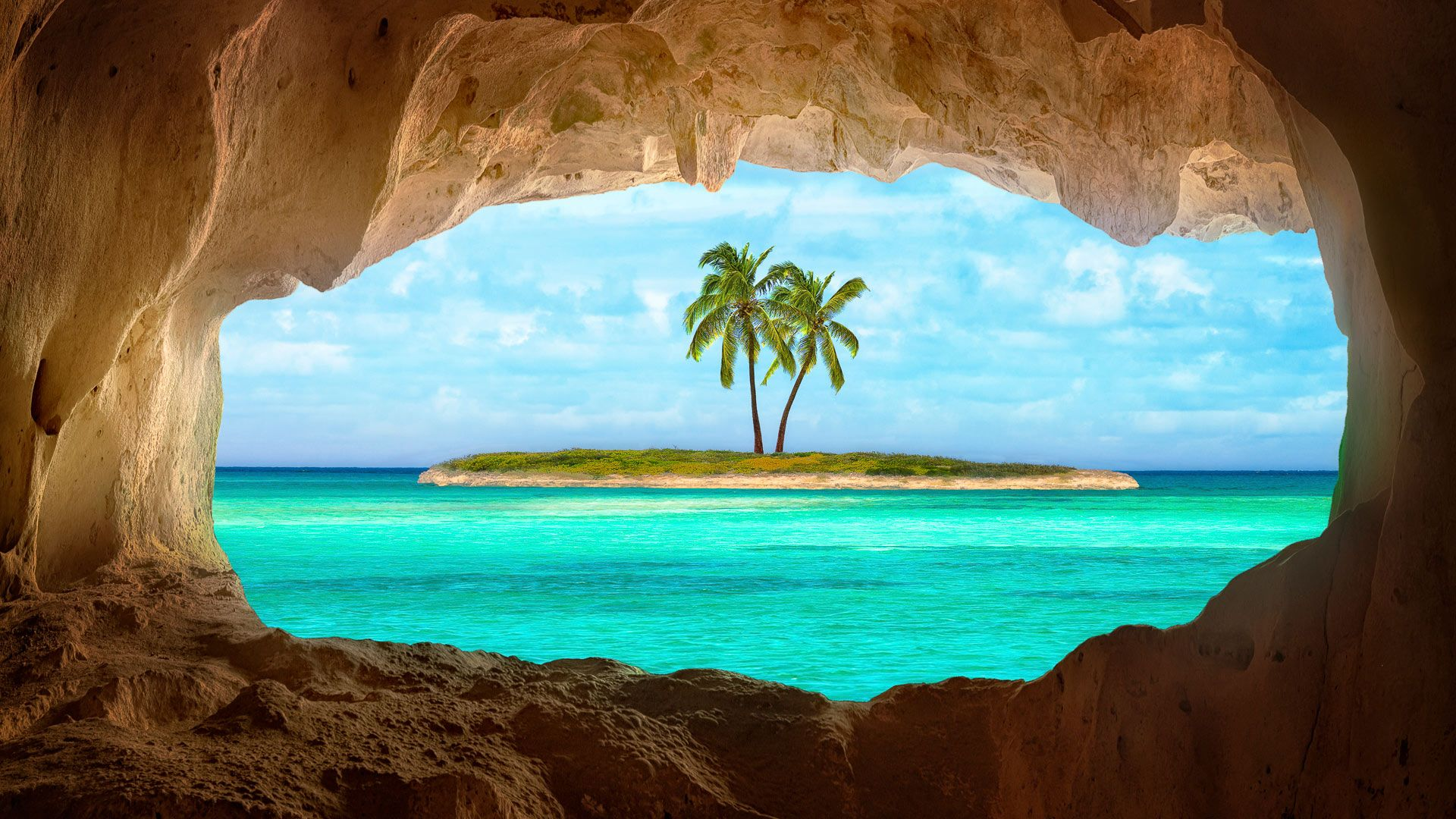 An old cave located on a remote Caribbean Island. [Desktop