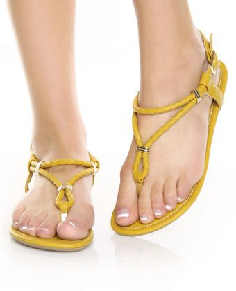 d188cdc4b8330 Lovely Yellow and Gold Ring Braided Thong Flat Sandals  25.00 ...