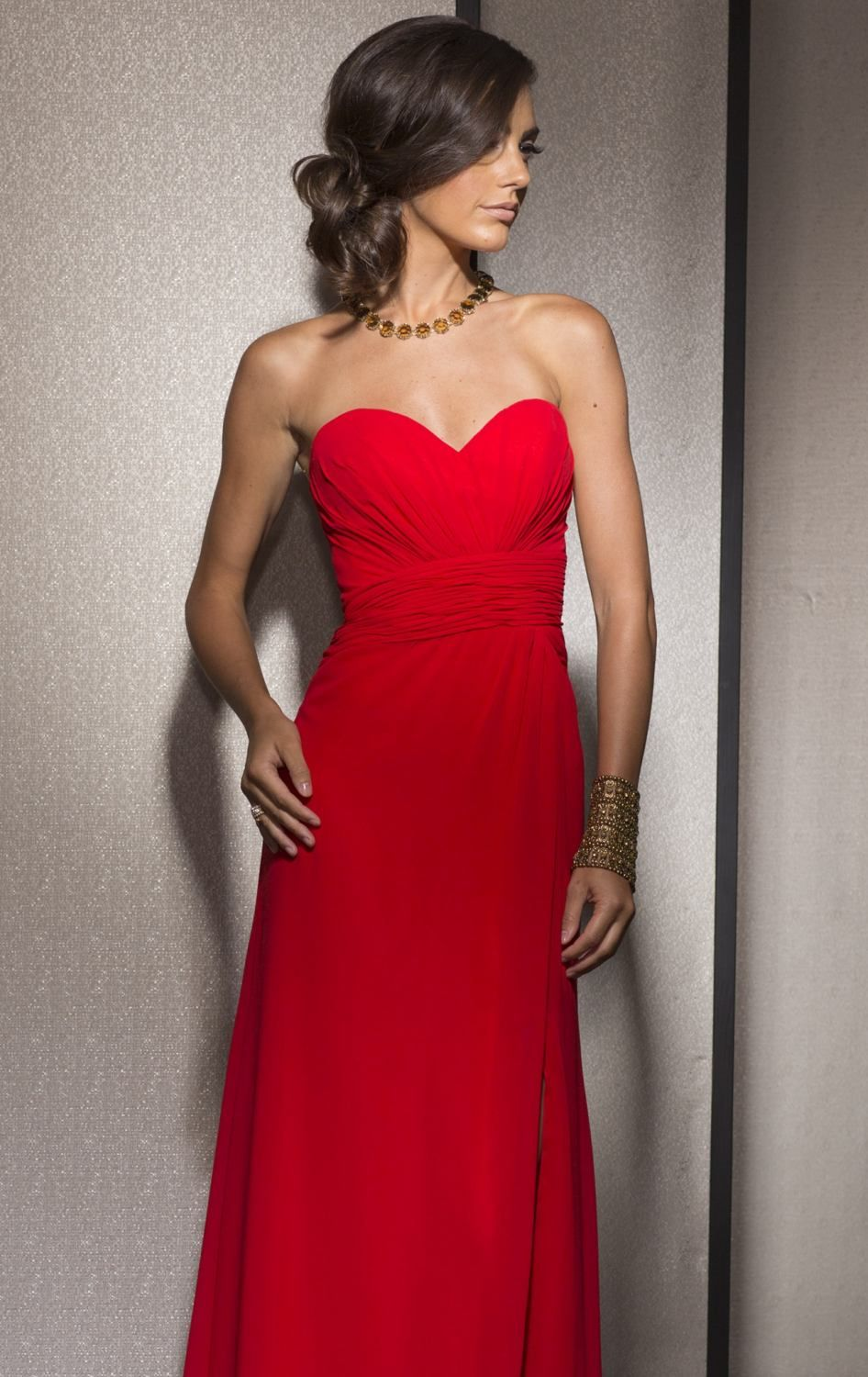 Strapless ruched gown by clarisse prom pinterest fitted bodice