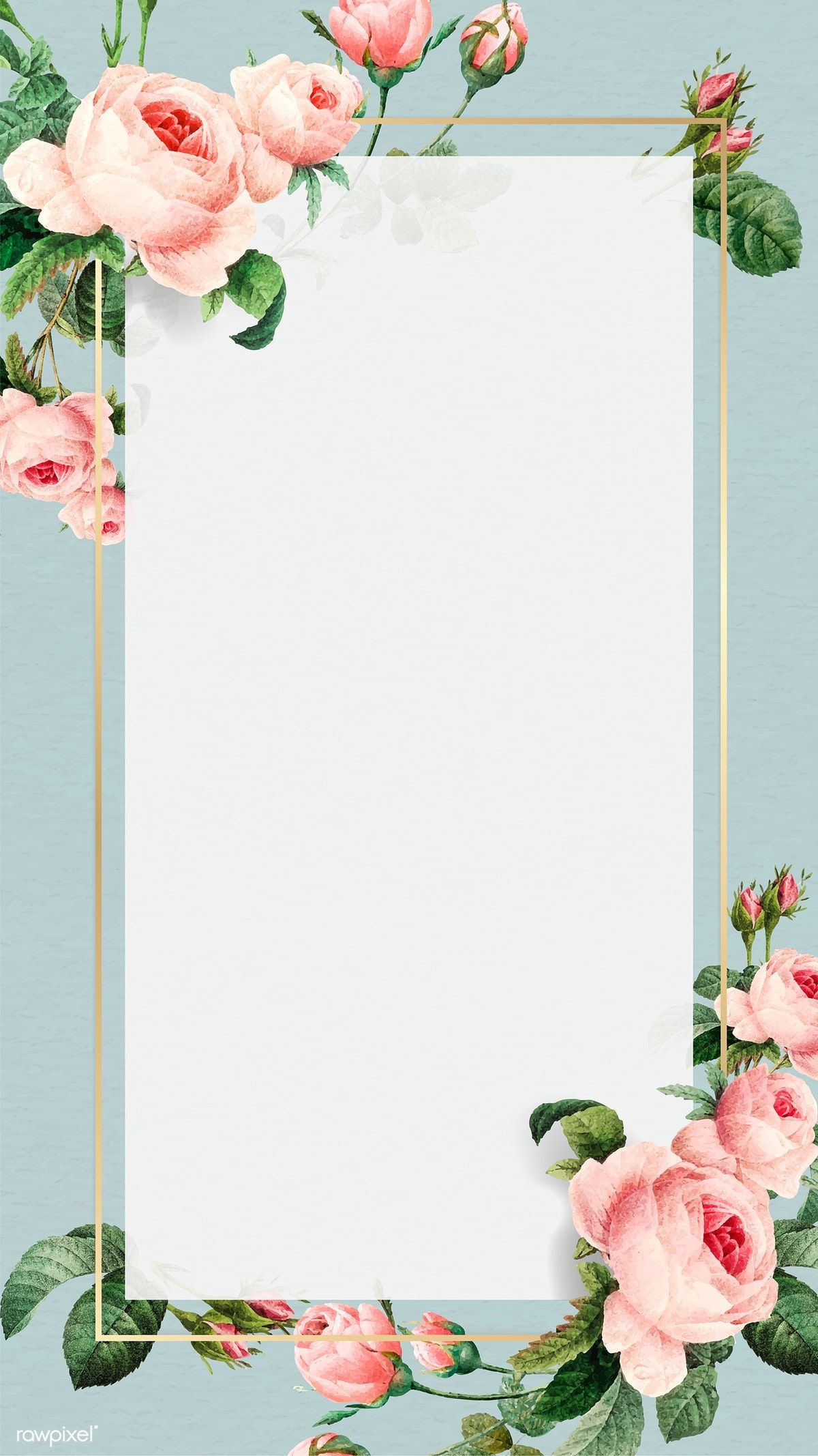 Download Premium Vector Of Golden Rectangle Frame Vector Mobile Phone Flower Background Wallpaper Framed Wallpaper Boarders And Frames