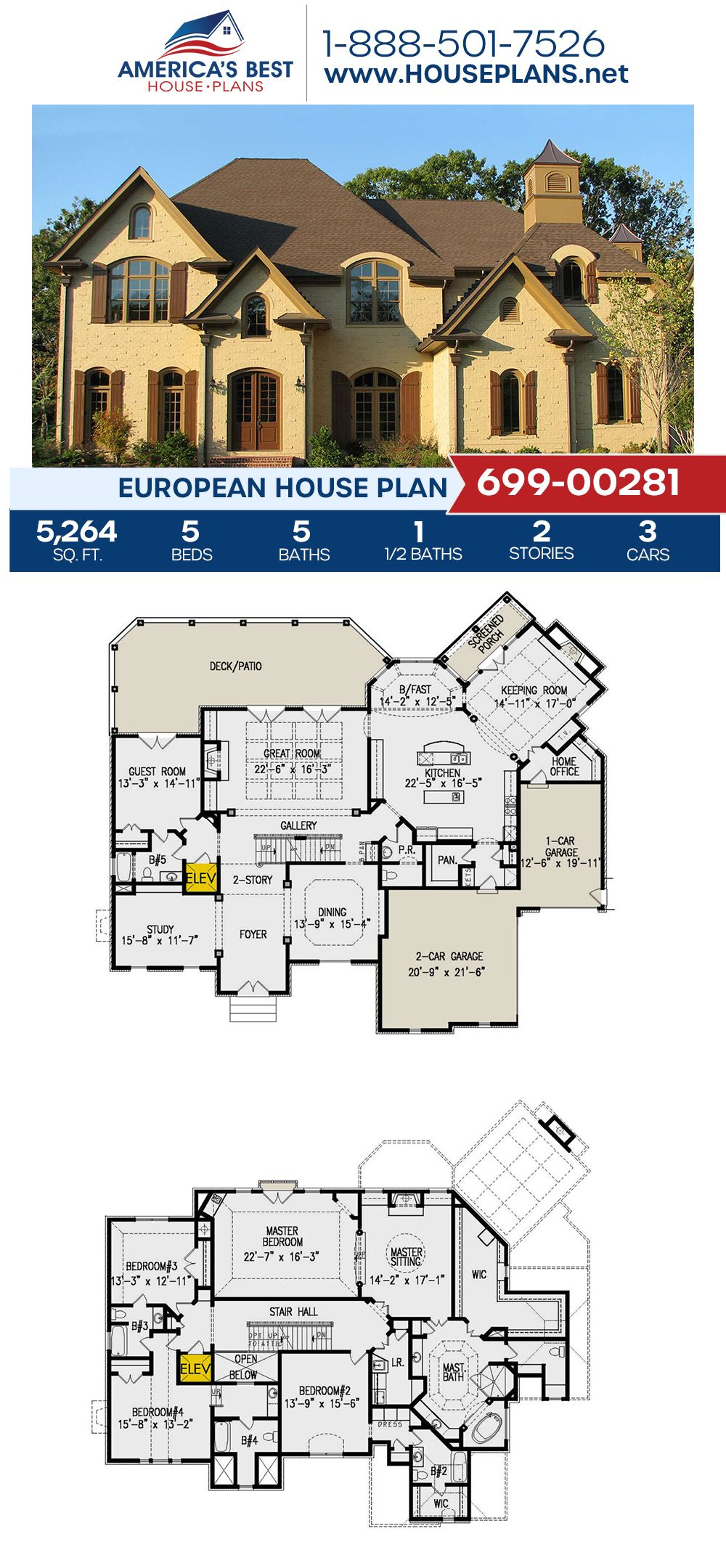 House Plan 699 00281 European Plan 5 264 Square Feet 5 Bedrooms 5 5 Bathrooms In 2020 House Plans Dream House Plans European Plan