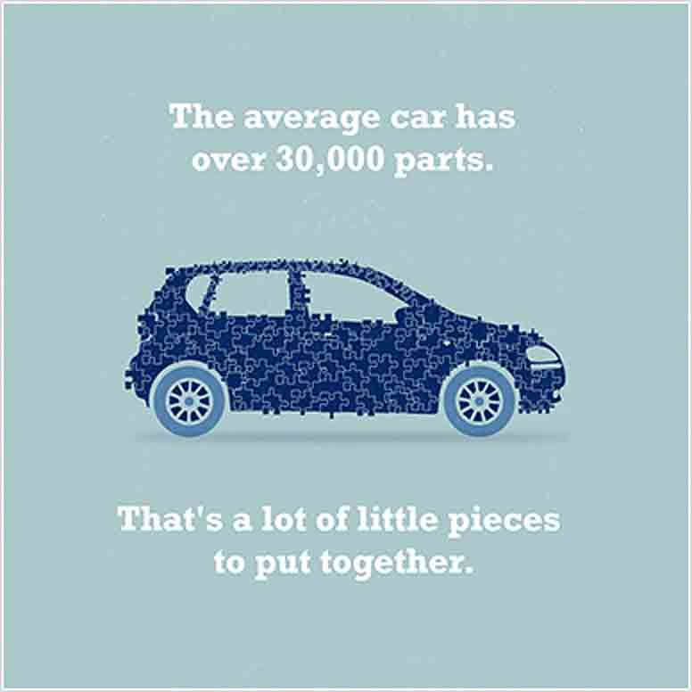 Car Fact -- The Average Car Has Over 30,000 Parts. That's