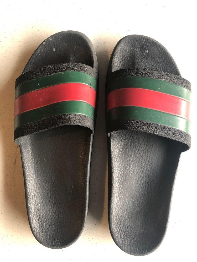 61ab00893bb AUTHENTIC GUCCI Pursuit 72 Black Green Red Slide Sandals Mens Size 12   fashion  clothing  shoes  accessories  mensshoes  sandals (ebay link)