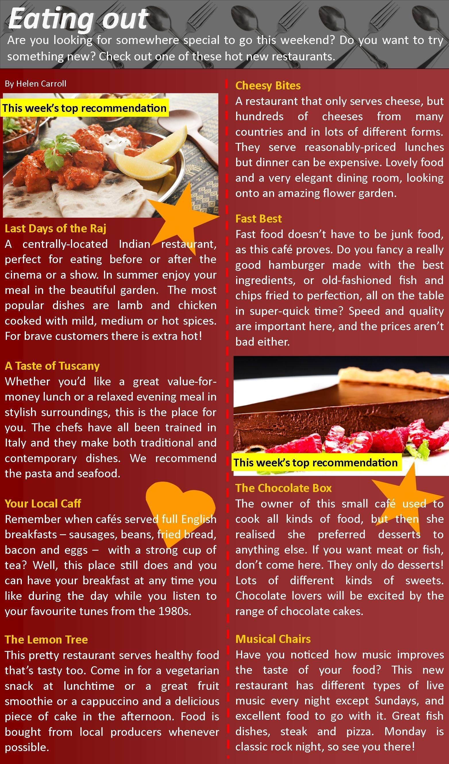 003 Food and restaurants English teaching resources, English
