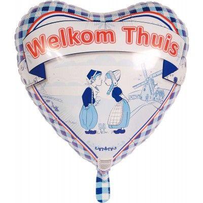 Welkom thuis ballon in de vorm van een hart. Bedrukt met een ouderwets Hollands plaatje. Geschikt voor helium.