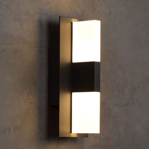 Combining modern geometric design with unique diffuser materials the lyft led outdoor wall light can