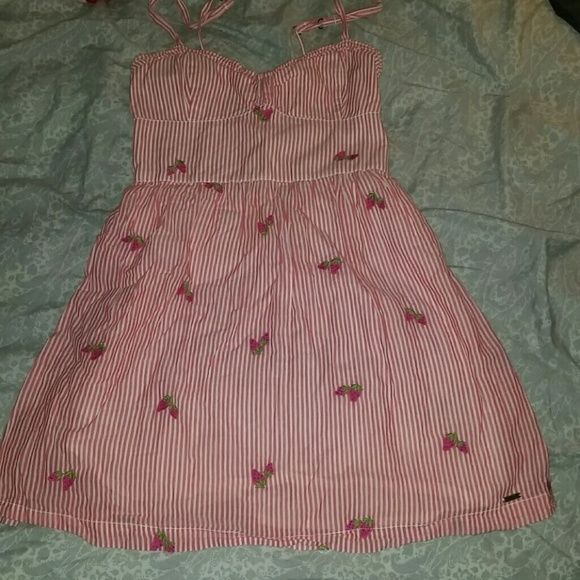 Seersucker dress with embroidered strawberries Super cute dress. No rips or stains. Hollister Dresses
