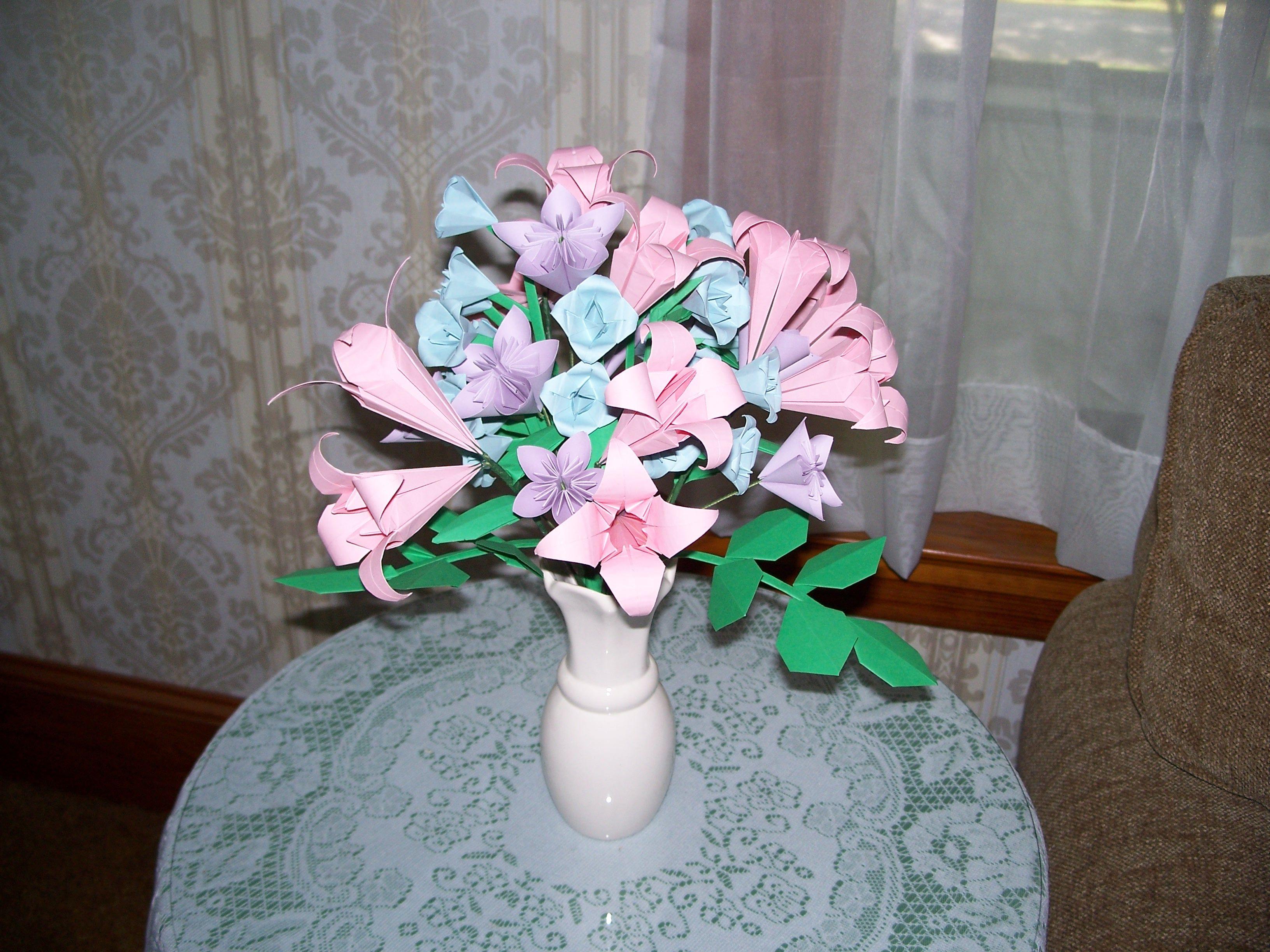 Origami Flower Bouquet Paper Flowers Foliage Pinterest