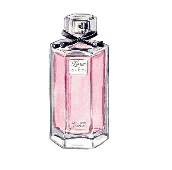 Gucci Flora Collection Gorgeous Gardenia Perfume Bottle Pastel Pink Fashion Illustration Perfume Bottle Art Perfume Art Perfume Bottles