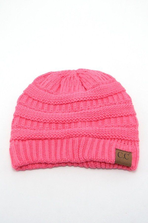 f88422194a3 Candy Pink Solid Color CC Beanie