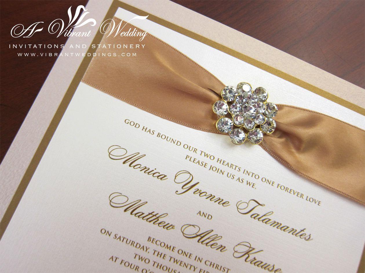 Triple Layered Champagne Antique Gold Box Wedding Invitation With Rhinestone Jewel