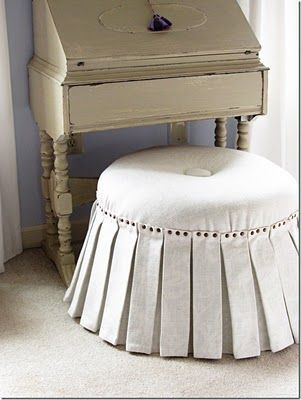 For my one day vanity...no-sew circular ottoman | Ottoman | Pinterest