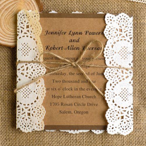 Classic Rustic Lace Square Wedding Invitations Ewls009 Pinterest