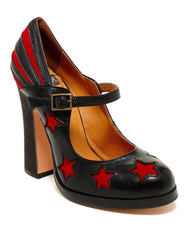Loving this Black Star Calle Leather Pump on #zulily! #zulilyfinds