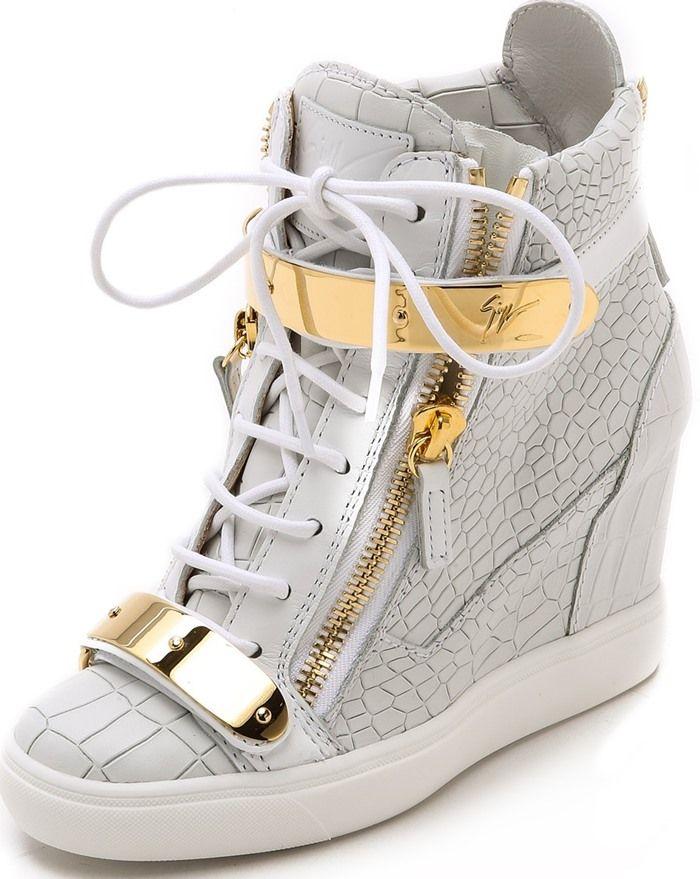 wholesale dealer 8a089 a613d Jennifer Lopez in Gold-Tone Hardware Giuseppe Zanotti Sneakers