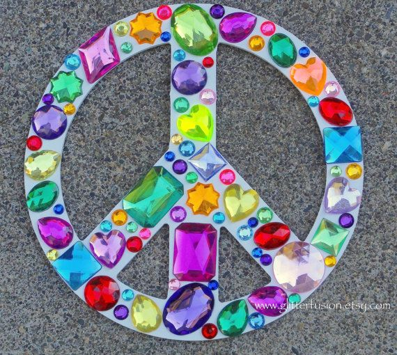Peace Sign Wall Art rainbow rhinestone peace sign wall decor, white painted peace sign