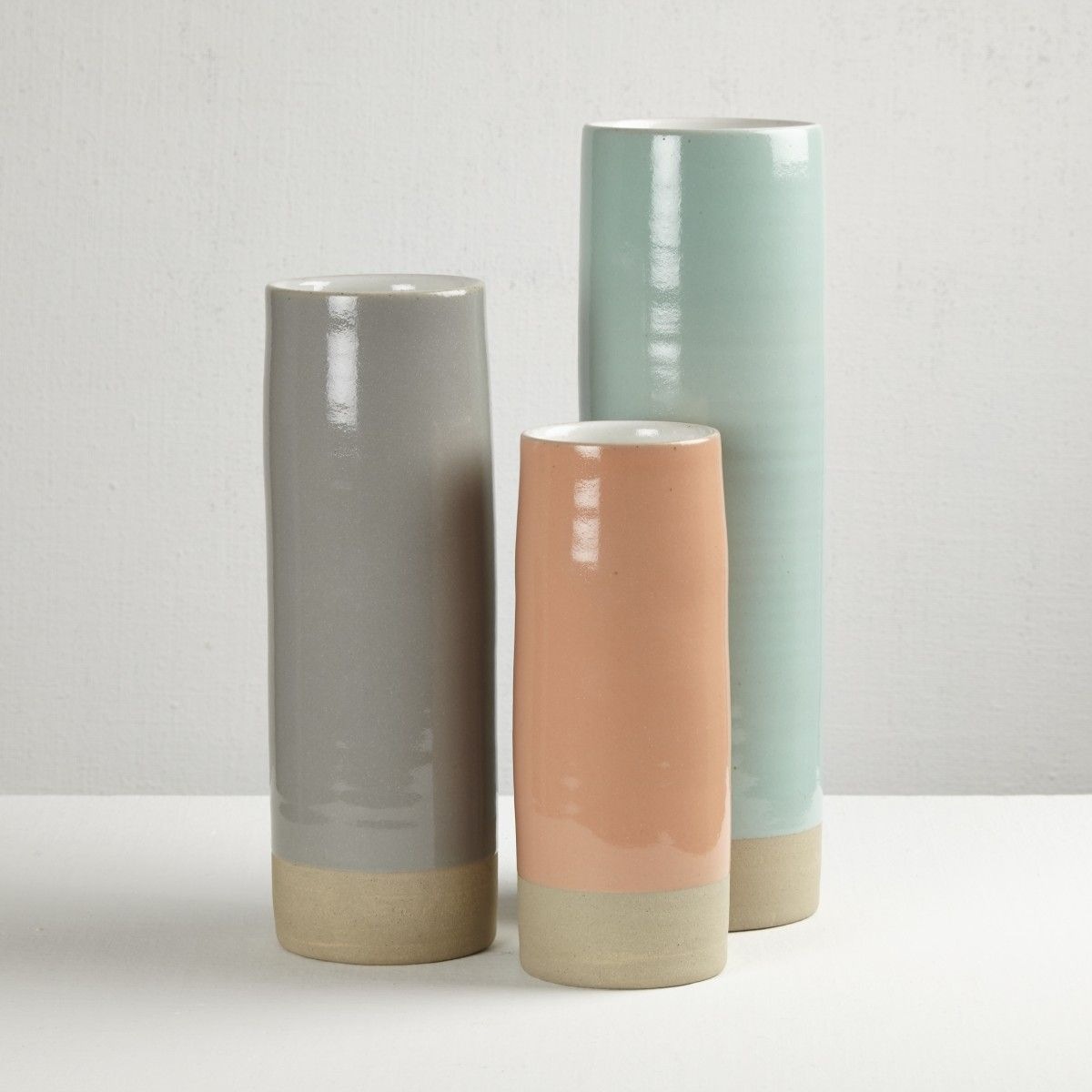 Les Guimards Large Cylinder Vase, White & Celadon Darkroom London