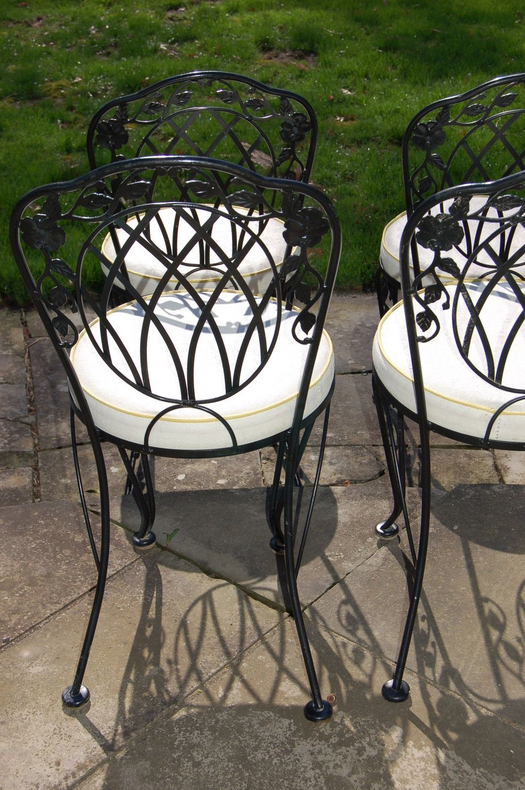 lyonshaw windflower lattice wrought iron outdoor patio table u0026 4 padded chairs